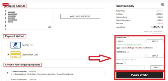 how to use shein coupon codes